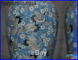 Old Chinese Wucai porcelain Glaze Crane bird statue Zun Bottle Pot Vase Jar pair