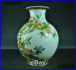 Old Chinese Wucai porcelain glaze flower bird Zun Cup Bottle Pot Vase Jar Statue