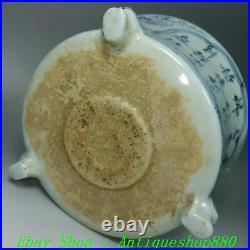 Old Ming Dynasty Blue White Porcelain 3 Leg Crane Poet Words Incense Burner Pot