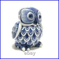 Owl Bird Porcelain Doll Statue Blue White Pottery Figurine Interior Vintage Used