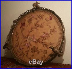 PARROT chinese bronze porcelain vtg tile bird statue cockatoo tray stand plate