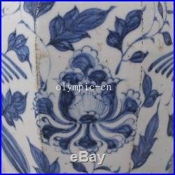 Pair 22''chinese blue and white porcelain Elephant birds phoenix vase statue