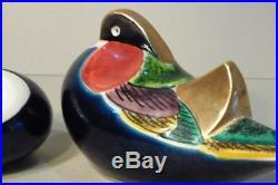 Pair (2) Old Japanese Kutani Okimono Porcelain Ducks Birds Figurine Sculpture
