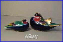 Pair (2) Rare Old Japanese Kutani Okimono Porcelain Ducks Birds Beautiful Colors