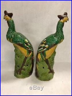 Pair Antique Chinese 14 in Porcelain Bird Figurines Phoenix Statue Bird peacock