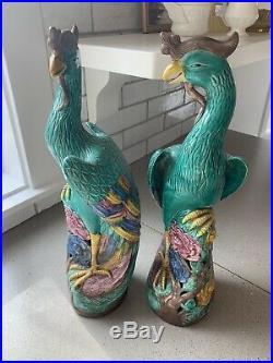 Pair Antique Chinese 16 in Phoenix Porcelain Statues Bird Figurines Bird
