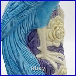 Pair Chinese Export Porcelain Turquoise Blue Phoenix Birds Statues Figures