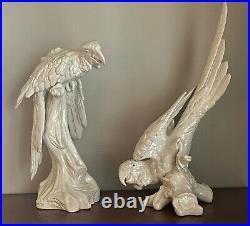 Pair Large Italian Blanc de Chine Ceramic Bird Parrot Scultpures Statues Italy