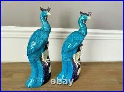 Pair Of Turquoise And Manganese Glazed Chinese Porcelain Ho-Ho Birds Phoenixes