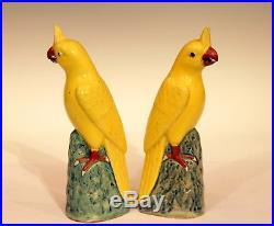 Pair Old Vintage Chinese Porcelain Garniture Bird Parakeet Figures Marked