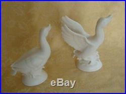 Pair Parian Bette Porcelain Bisque Relief Mold Figure Statue Sculpture Birds