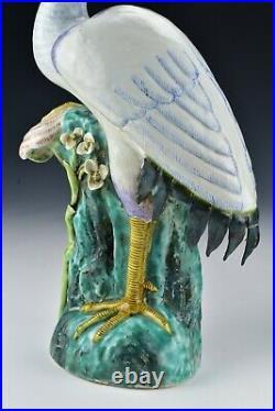 Pair of Antique Chinese Export Porcelain Crane Bird Statues Figures