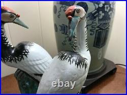 Pair of Antique Chinese Export Porcelain Crane Bird Statues Figures 10.25hx5w