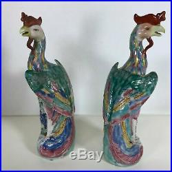 Pair of Antique Chinese Porcelain Phoenix Bird Statue Figurine