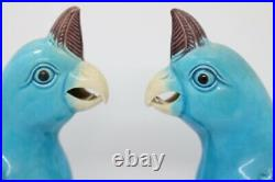 Pair of Blue and Purple Parrots in Chinese Porcelain XX marked 21 cm