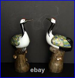 Pair of Early 20th Century Chinese Chinoiserie Chic HandPainted Porcelain Cranes