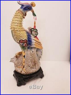 Paradise Bird Phoenix Peacock Porcelain Statue figurine China Delicate Vintage