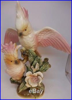 Pink Cockatoos Birds Wm Maddux California Pottery Vintage Rare Figurine Statue