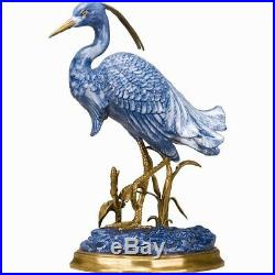 Porcelain Blue Heron Bird Bronze Ormolu Statue Figurine Wading Bird Crane 12'H