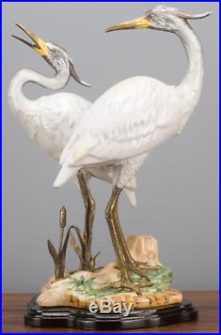 Porcelain Egret Bird Heron Pair Bronze Ormolu Statue Figurine Wading Birds 15''H