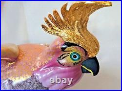 Porcelain Gold Crested Cockatoo Perched Mangani for Oggetti Italy 1970's