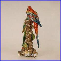 Porcelain Parrot Art deco Italian ceramic bird figure animal figurine 1930