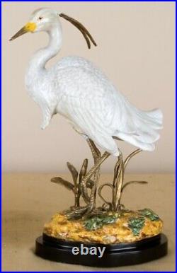 Porcelain White Egret Bird Bronze Ormolu Statue Figurine Wading Bird Crane 12'H