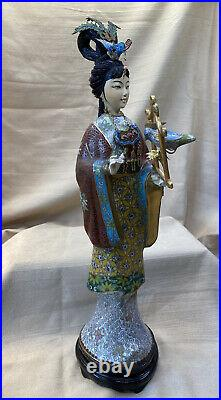 Porcelain and Cloisonné Figure / Statuette of Maiden or Woman holding a Bird