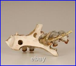 Porcelain bird figurine Sparrows Mid century Italy Ronzan style Lenci handmade
