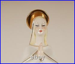Porcelain figurine Virgin Mary Mid century Italy Giovanni Ronzan Lenci handmade