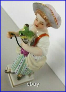 RARE FINE GERMAN MEISSEN FIGURE OF GIRL WithBIRD EXCELLENT, FROM EARLY 1900's