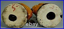 RARE Pair China Chinese Mustard & Brown Enamel Porcelain Owl Figurines ca. 1900