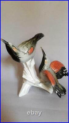 Rar Karl Ens Germany Antique Porcelain Statue Figurine Two Birds Wall Climbers