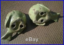Rare Antique Chinese Hand Made China Pair Of Porcelain Ceramic Bird Figurines