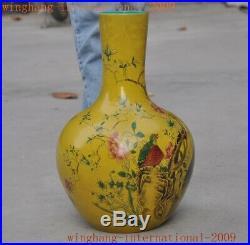 Rare China dynasty yellow glaze porcelain flower bird Bottle Pot Vase Jar Statue