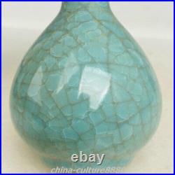 Rare Chinese Ru Kiln Porcelain Porcelain Ice Crack Curio Flower Bottle Vase Pair