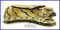 Rare Chinese porcelain Cizhou kiln tiger shape pillow with bird design