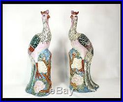 Rare Large Pair of Antique Chinese Famille Rose Porcelain Phoenix Birds