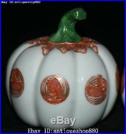 Rare Marked China Enamel Porcelain Crane Bird Pumpkin Squash Cushaw Statue Pair