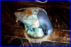Rare Vintage Satsuma Hand Painted Porcelain Bird Statue Figurine VIVID Colors