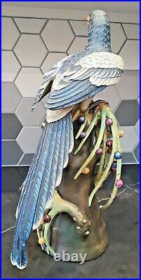Rare Vintage VISTA ALEGRE BISCUIT Porcelain Exotic Bird Statue 16.5 LARGE