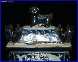Rare White Blue Porcelain Phoenix Fenghuang Bird Lion Ding Incense Burner Censer