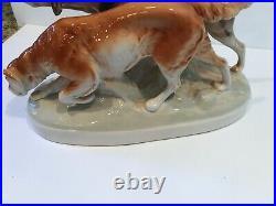 Royal Dux Bohemia Porcelain Dog Setter Retrievers Statue Czech Repblic Bird Hunt