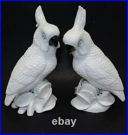SET vtg Napco Porcelain 2 Cockatoo Cockatiel Parrot Bird Statues Figurines 10