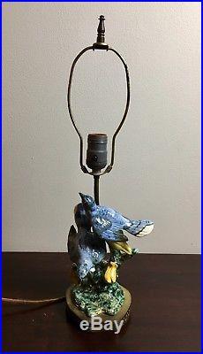 STANGL POTTERY BLUE DOUBLE BLUEBIRDS BIRD PAIR STATUE FIGURINE #13022 Lamp