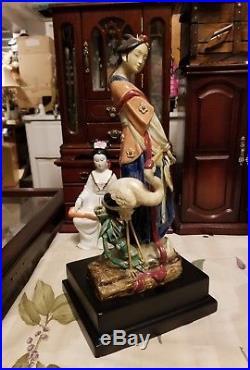Signed Porcelain Ceramic Asian Lady big bird Figure Figurine Statue wood vase