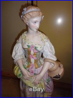 Stunning Antique Vion & Baury Large Bisque Statue Set Lady withJug & Man with Birds