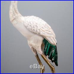 Tall Bronze Ormolu Porcelain Crane Bird Statue/Figurine, 49''H