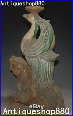 Tang Sancai Pottery Porcelain Pixiu Beast Phoenix Bird Candle Holder Candlestick