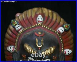 Tibet Bronze Painting Garuda Bird Eagle Buddha Skull Head Hanging Amulet Mask